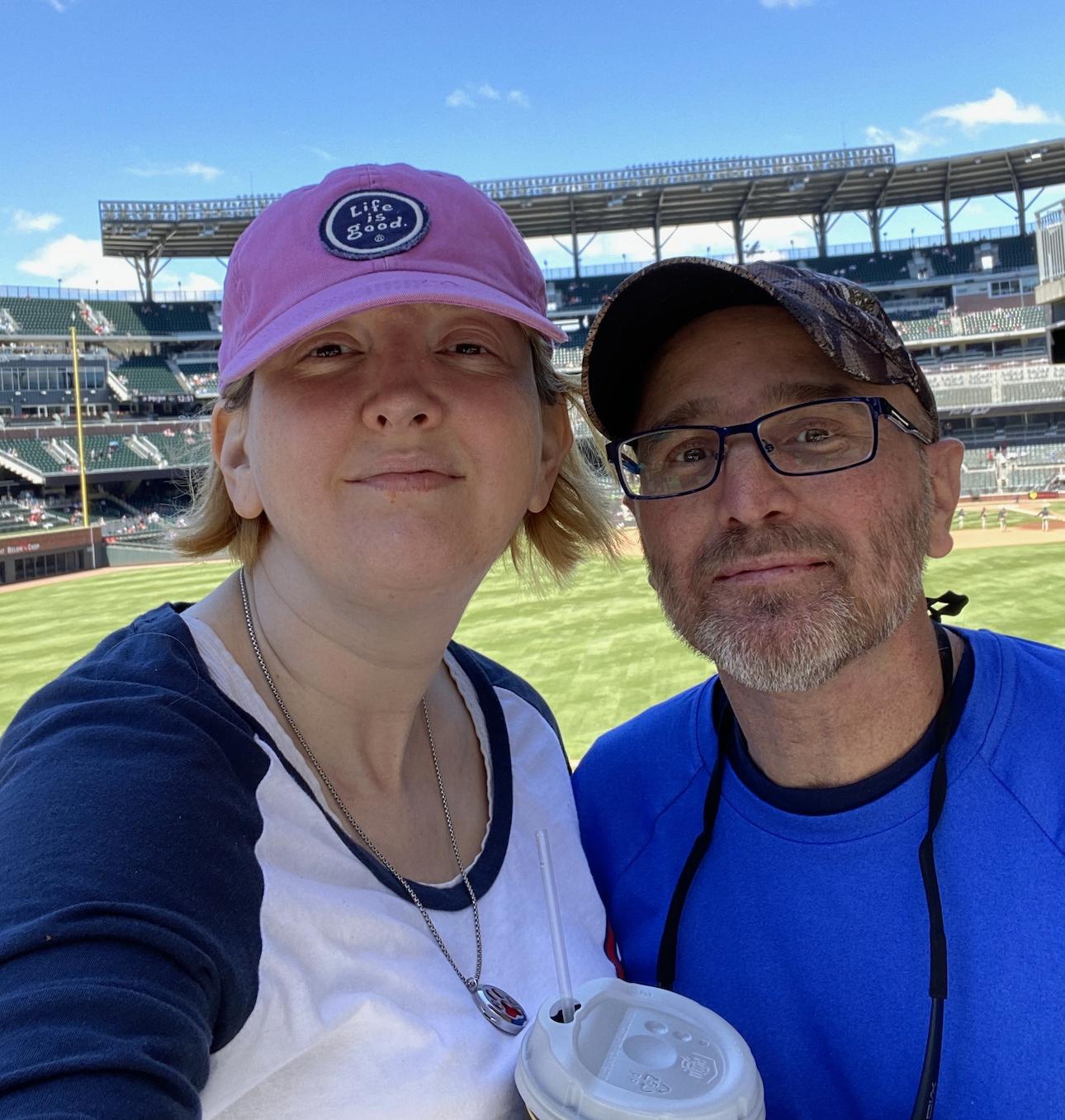 Woman and man at stadium